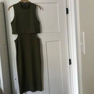 Olive Green Topshop Midi Dress
